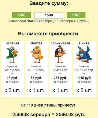 калькутятор прибыли new birds