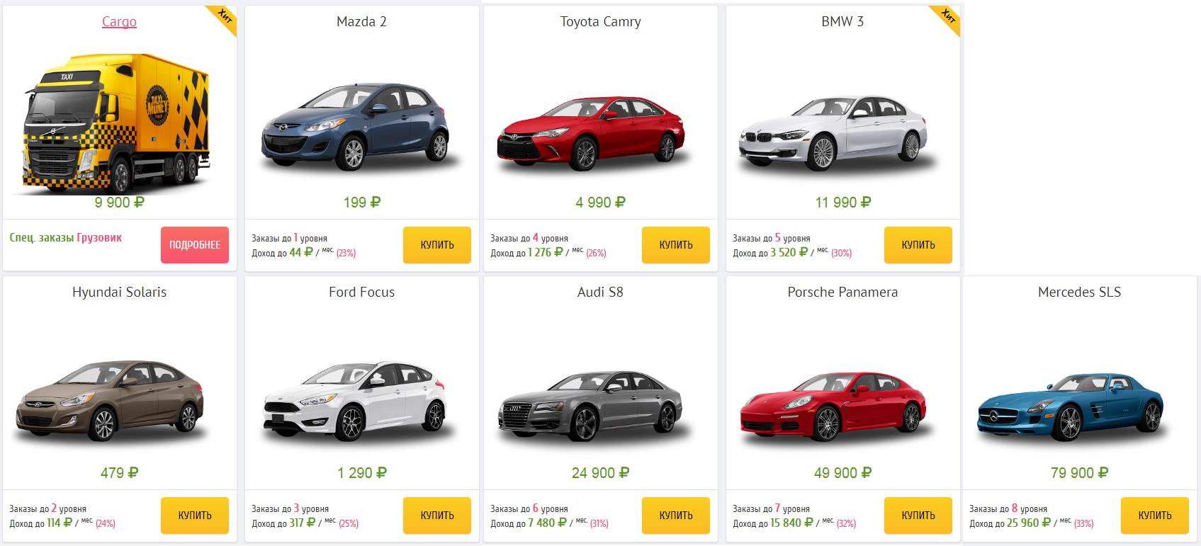 список машин в такси мани
